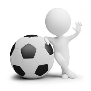 Tecknad Fotbollsspelare med XXXL boll