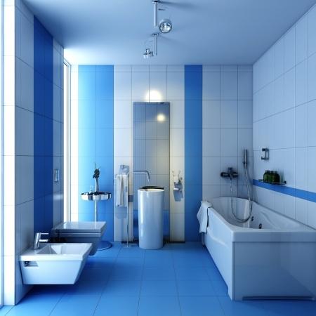 Stilrent badrum i blått