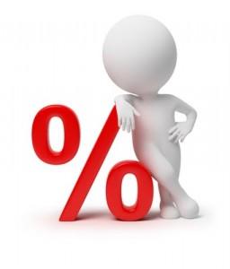 3D human lutar sig mot ett procent tecken